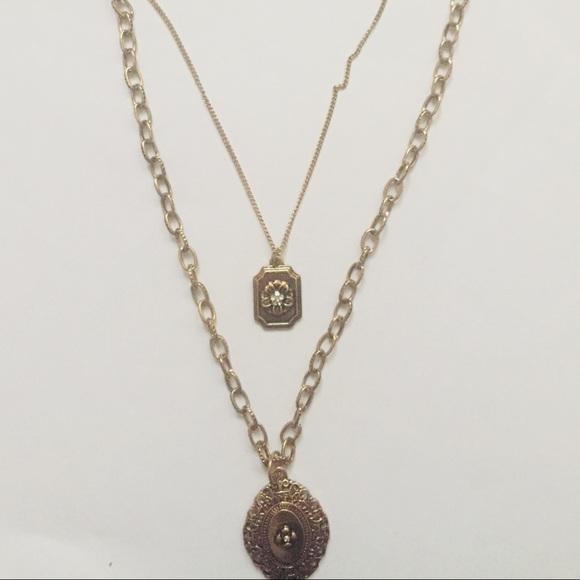 2 pc Golden Necklaces with Pendants